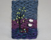 Embroidered Woven Brooch - Moorland Sheep at Dusk hand stitched by Lynwoodcrafts