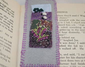 Embroidered Felt Bookmark - Sheep in landscape with heather stitched by Lynwoodcrafts