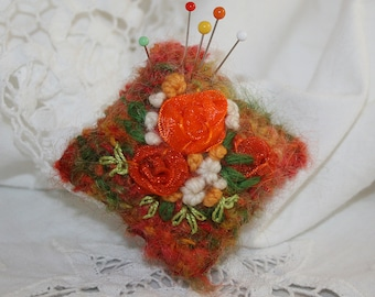 Embroidered Knitted Mini Pin Cushion - Orange Roses