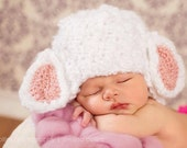 Lamb Hat - Photo Prop - Made to Order - White with Pink or Blue Ears - Crocheted - Newborn - Other Sizes by Request