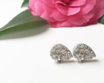 silver faux druzy drops | post earrings | dainty | handmade jewelry