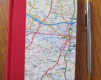 Handbound hardback red travel journal, notebook,  diary, made from a upcycled map of England