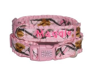 Pink Camo Dog Collar With Rhinestones