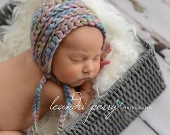 Newborn Baby Girls Bonnet Hat Pastel Shades Crochet Bonnet Hat with Ties. Newborn Baby Bonnet Hat Ready to Ship Photography Prop. UK Seller.