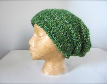Crochet Christmas Green, St. Patrick's Day Green Emerald Green Hunter Green Slouchy Hat, Beanie Hat, Adult Hat