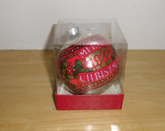 Vintage Christmas Glass Ornament - 1977 Hallmark, Stained Glass Ball, Hallmark Christmas Ornament, Stained Glass Ornament, Hard to Find