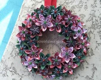 Origami Paper Flower Wreath / Christmas wreath, holiday wreath, centerpiece, paper flowers, origami wreath, kusudama, paper wreath
