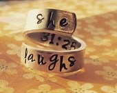 Proverbs 31:25 //she laughs// spiral hand stamped aluminium ring