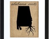 Alabama Roots, Burlap Framed Art, State Roots, Burlap, Wall art