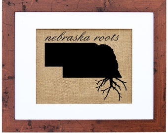 Nebraska Roots Burlap Art, Wall Decor, Burlap, State Roots, Frame Included