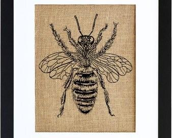 Honey Bee Framed Print, Burlap Print, Bee Art, Bee Drawing, Burlap Wall Art by Fiber and Water