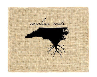 North Carolina Roots Unframed, Burlap Wall Art, Custom Wall Art, Know your roots, Custom State Outline, Burlap Print