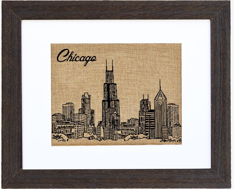 Chicago Skyline, Framed Burlap Print, Illinois, Chicago Print ...