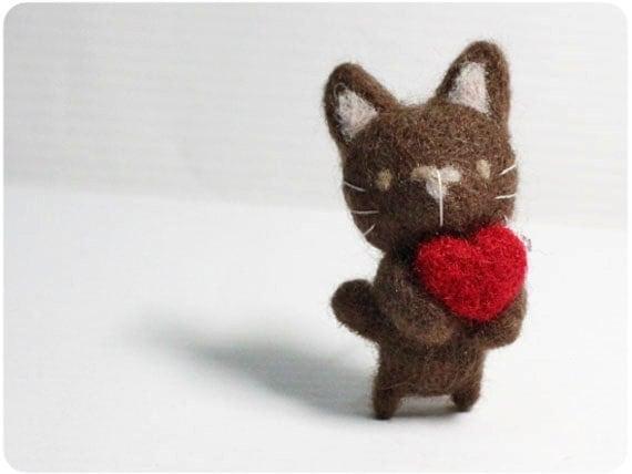 Choco Cat - needle felted wool brooch, crystal bead