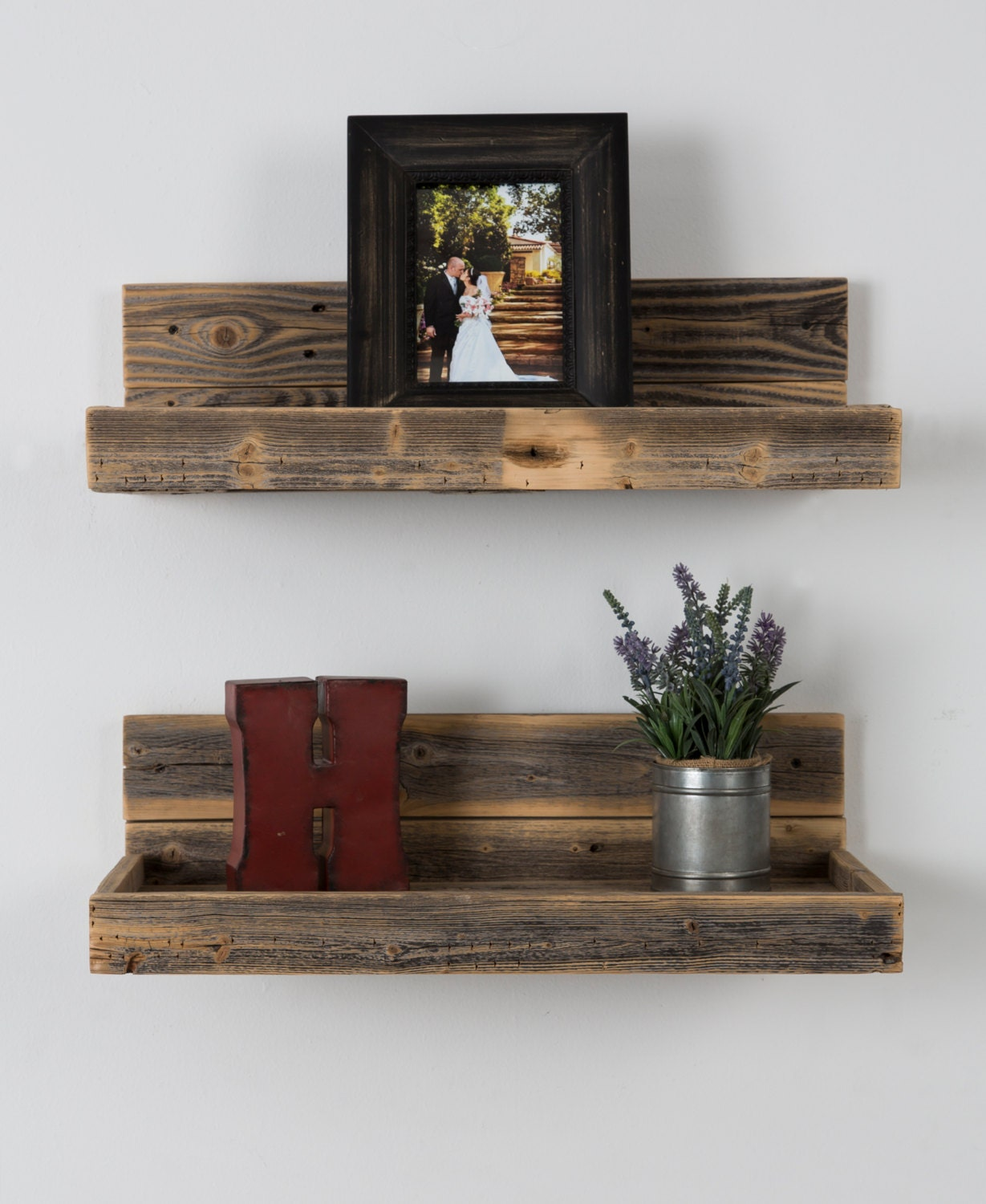 Floating Wood Shelves ~ Reclaimed wood floating shelves