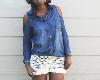 The Cuffed Over Crochet Shorts Pattern. Instant Download!