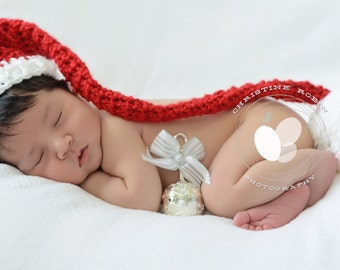 Crochet santa pixie elf long tail beanie hat newborn 0 3 3 6 month boy or girl Christmas photography photo prop red and white