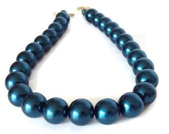 Dark Blue Necklace, Blue Pearl Necklace, Dark Teal Necklace, Faux Pearl Necklace, Chunky Pearl Necklace, Navy Blue Necklace, Navy Blue Pearl