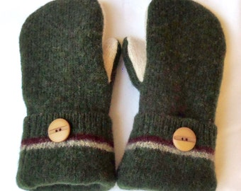 Wool Mittens - Hunter Green/Ivory - Felted Sweater MIttens - Felted Wool Mittens - Womans - Medium