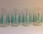 Vintage Libbey Glasses Christmas Tree Pine Tree  Etched Enamel Trees Set of 4