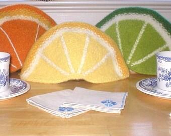 Knitting Pattern - Felted Citrus Tea Cozies PDF pattern, knit felted orange lemon lime tea cozy cosy, wool