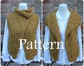 Knitting PATTERN - The Dijon wrap, womens sleeveless jacket, cardigan - Listing140
