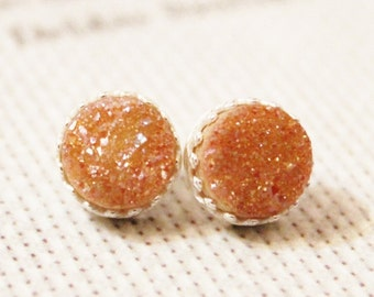 Sterling Silver Orange Druzy Drusy Stud Earrings, Orange Stud Earrings