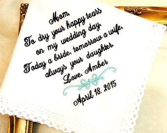 Gift for Mom-Gift for Mother-Mother of the Bride-Wedding-Hankerchief-Handkerchief-Wedding Hanky-Gift from Bride-Weddings-TEARS-Today a BRIDE