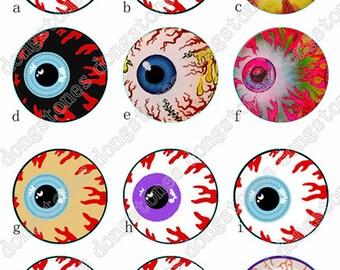 Eyes Eyeball Charm Round Clear Glass Cabochons - Handmade Glass Photo Cabochon ---10mm 12mm 14mm 16mm 18mm 20mm 25mm 30mm---