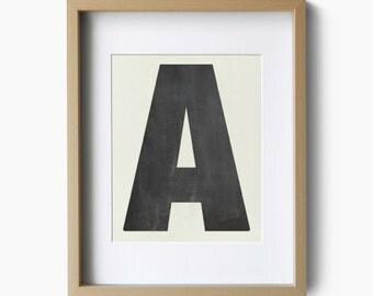 Single Letter Poster Print, Custom Typography, Giclee Art Print, Typography Art, Wall Art, Home Decor, Chalkboard Look, Black Grey