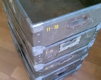 Vintage industrial crates , stackable wood and metal storage bins , industrial boxes ,