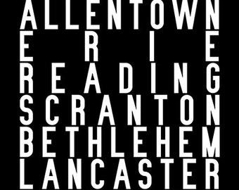 Subway sign art piece representing Pennsylvania; Philadelphia, Pittsburgh, Allentown, Erie, Reading, Scranton, Bethlehem & more