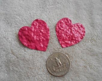 Vtg RETRO Pierced Earrings-Rose Colored Enamel Hearts- R3803