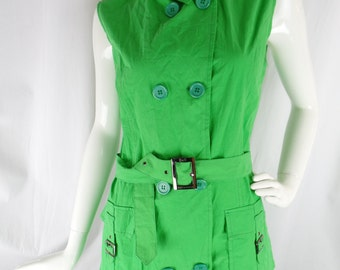 90s dog collar lime green/ neon green sleeveless military style summer dress/designer style: size XL
