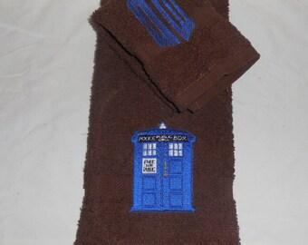 Custom Tardis Embroidered Hand Towel washcloth set Dr Doctor Who