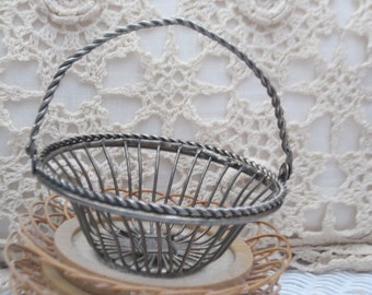 Small sweet Little Wire Basket  5 inches tall.