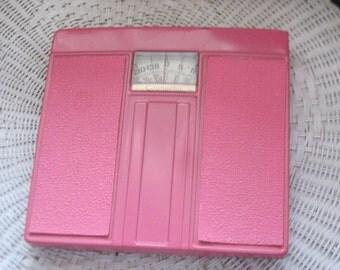 Dark Pink Standing Weight Scale Bathroom Scale,Pink Bathroom,Vintage Bathroom,Pink Bathroom Scale, Vintage Bathroom Scale