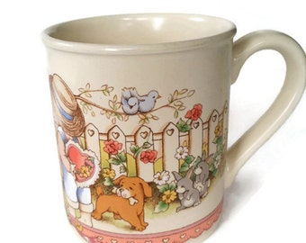 "Vintage Watkins Country Kids Mug ""Be My Valentine"" 1990 Coffee Cup Hot Chocolate Collectible Ceramic"