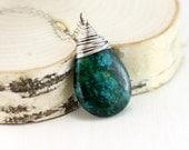Azurite Malachite Necklace, Oxidized Sterling Silver Azurite Malachite Pendant Wire Wrapped Blue Green Stone Necklace
