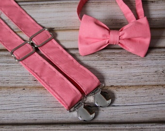 Solid Coral Bow Tie and Suspender set ( Men, boys, baby, toddler, infant Suspender and Bowtie ) outfit