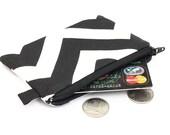 Coin purse, small zipper pouch, padded change purse - black white chevron stripes