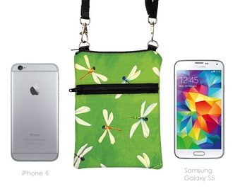 Small Travel Purse, Samsung S5 Cell Phone Case Crossbody, iPhone 6,5 Zipper Shoulder Bag, Mini Cross Body Bag w/ straps - dragonfly in green