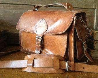 Vtg Artisan Rustic Brown Leather Handbag // Mini Briefcase