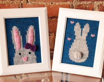 Some Bunny Loves You Knitted Wall Art KNITTING PATTERN INSTRUCTIONS Framed Knitted Bunny Face, Bunny Tail, and Word Wall Decor