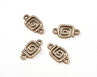 Gold Square Connector Charms - 14mm x 7mm - Bracelet Gold Jewelry Link (d1999513)