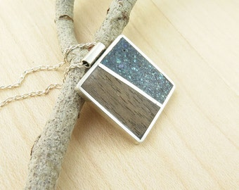 Art Jewelry- Sterling Silver Square Pendant Colorful Natural Stones and Wood- Unique Handmade Special Christmas Gift
