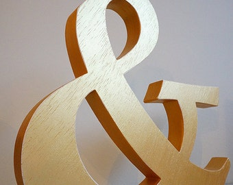 Golden Ampersand wooden letter, free standing wooden letter, shelf decor