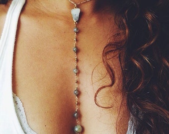 Labradorite and Gold Chain Choker / Drop Necklace