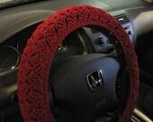 Crochet Steering Wheel Cover, Wheel Cozy - burgundy (CSWC 2FFF)