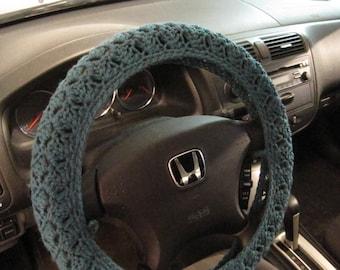 Crochet Steering Wheel Cover, Wheel Cozy - Teal heather (CSWC 8N)
